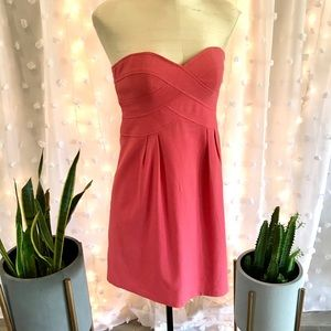 Nanette Lepore Strapless Coral Cocktail Dress